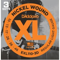 D'Addario EXL110 3 Pack Nickel Wound Electric Guitar Strings Light 10-46