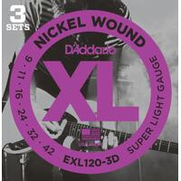 D'Addario EXL120 3 Pack Nickel Wound Electric Guitar Strings Super Light 9-42